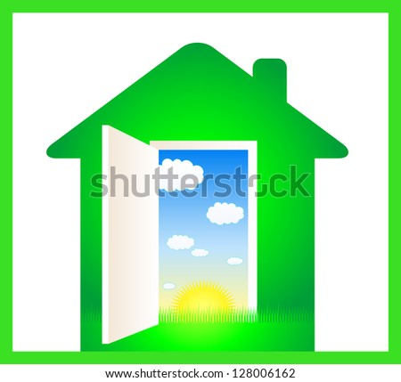 green eco house with door and cloud, sun, grass - stock photo