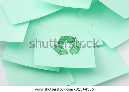 Green eco sign painted on a blank - stock photo