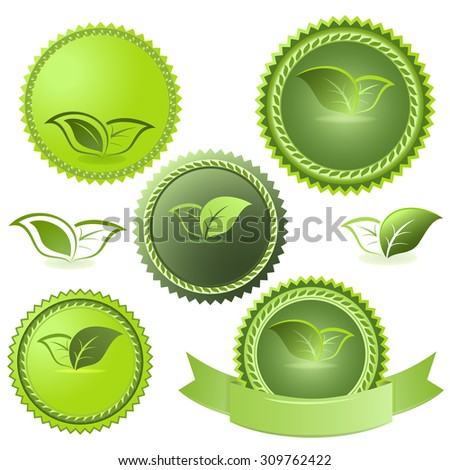 Green ecological tags isolated on white background.