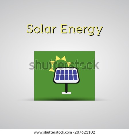 Green ecology energy planet  concept with solar panel on green card for poster, background, template etc. Illustration. - stock photo