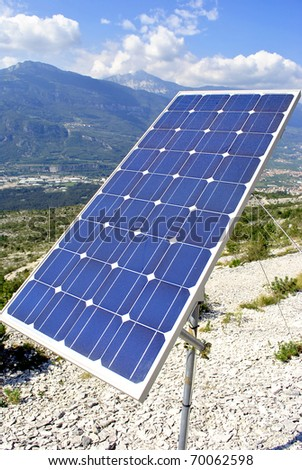 green economy, solar panels for electricity production - stock photo