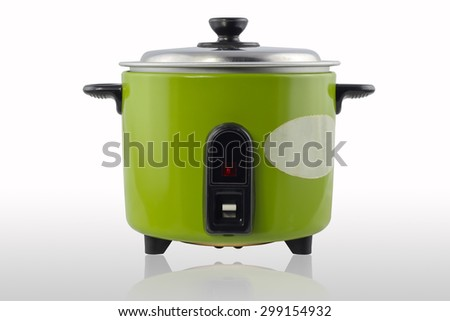 Green electric cooker on white background - stock photo