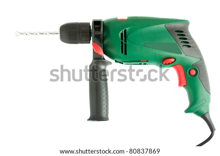 Green electric drill with handle isolated on white background - stock photo