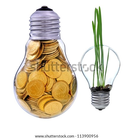 Green  electric energy from renewable sources - stock photo