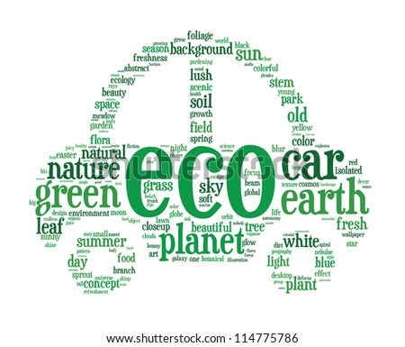Green electric hybrid car info-text (cloud word) composed in the shape of a car on white background - stock photo