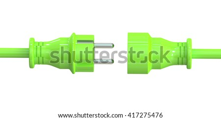 Green electric plug and socket, green energy concept. 3D rendering isolated on white background - stock photo