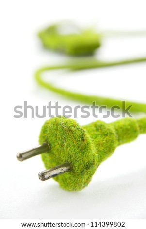 green electric plug with eco car icon, save energy concept - stock photo