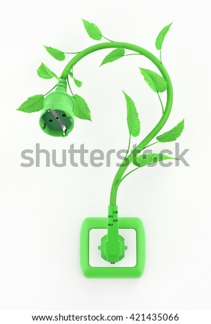 Green Electric Question Mark. Illustration on the subject of 'Ecological/Environmental Issues'. 3D rendering graphics. - stock photo