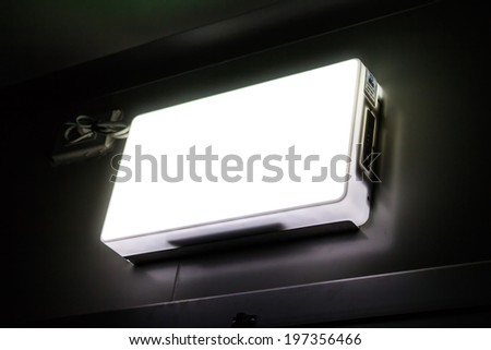 green emergency exit - stock photo