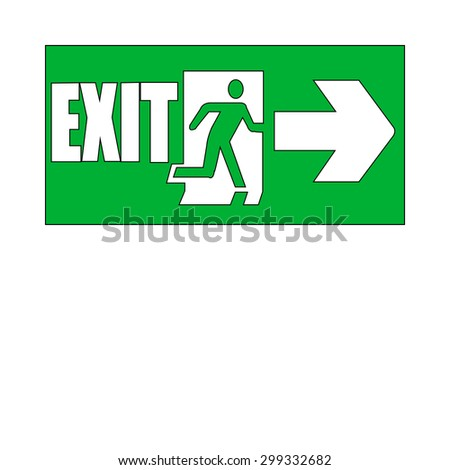 Green emergency exit sign on white - stock photo