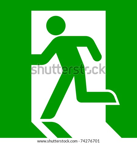 Green emergency exit sign or symbol; isolated on white background. - stock photo