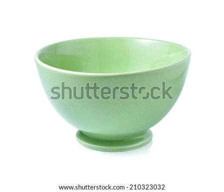 green empty bowl on a white background - stock photo