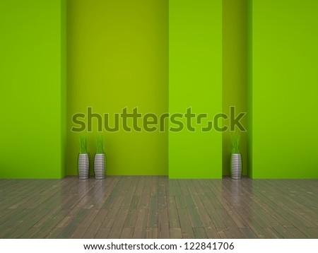 green empty interior - stock photo