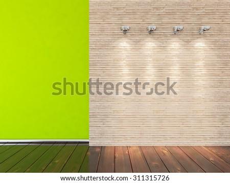green empty interior. 3D rendering - stock photo