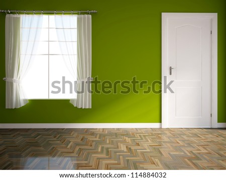 green empty interior with a white door - stock photo