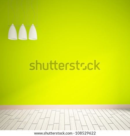 green empty interior with white lamps - stock photo