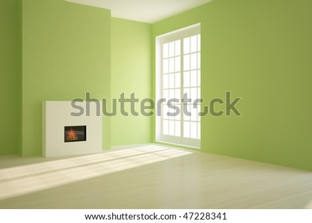 green empty room with fire - stock photo