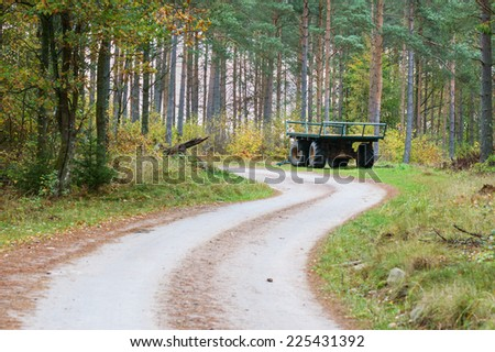 Green empty wagon standing in forest beside gravel road. Back and side view from distance. - stock photo
