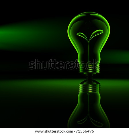 Green energy , a bud in a bulb, bulb series - stock photo