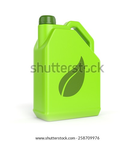 Green energy and bio fuel concept. Gasoline jerrycan with leaf symbol isolated on white background. - stock photo