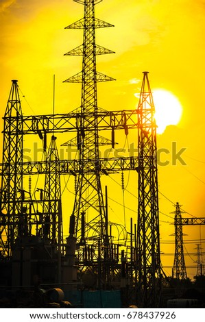 Green energy concept, Electricity station, Electricity plant landscape with  sunset sky. Part of