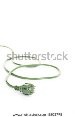 Green energy concept (green energy plug over a white background) - stock photo