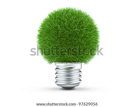 Green energy concept. Light bulb with green grass on white. - stock photo