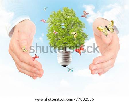 Green energy concept - save green planet - stock photo