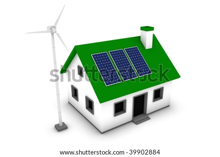 Green energy conceptual rendering of a house with a wind turbine and solar panels. - stock photo