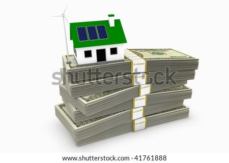 Green energy conceptual rendering of a house with a wind turbine and solar panels on a stack of hundred dollar bills. - stock photo