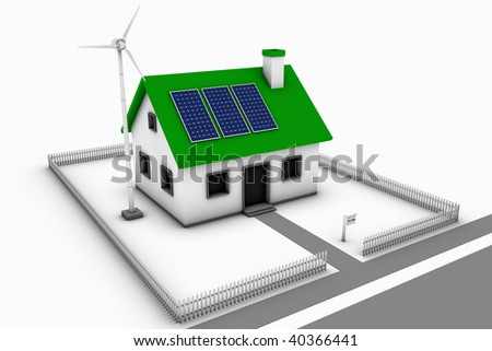Green energy conceptual rendering of a house with a wind turbine and solar panels with a for sale sign.