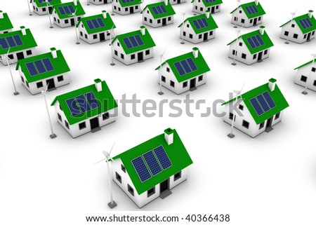 Green energy conceptual rendering of a neighborhood comprised of houses with wind turbines and solar panels. - stock photo