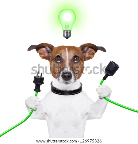 green energy dog with a cable and a light bulb - stock photo