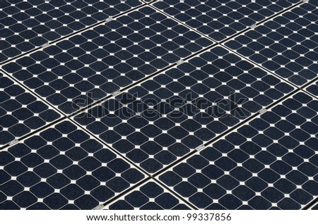 Green energy from solar panels. A glance to the future - stock photo