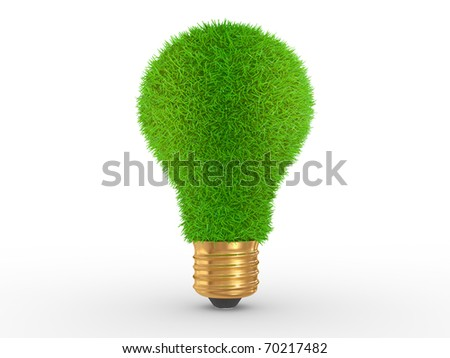 Green energy. Green grass on lightbulb on a white background - stock photo