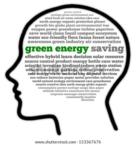 Green energy in head shape words cloud - stock photo