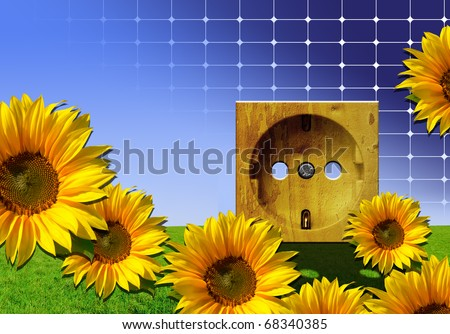 Green energy - nature background with flowers, grass and wooden power outlet against blue sky with photovoltaic solar cell texture - stock photo