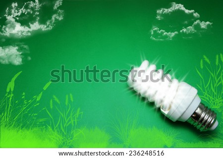 Green Energy Saving Light Bulb - stock photo