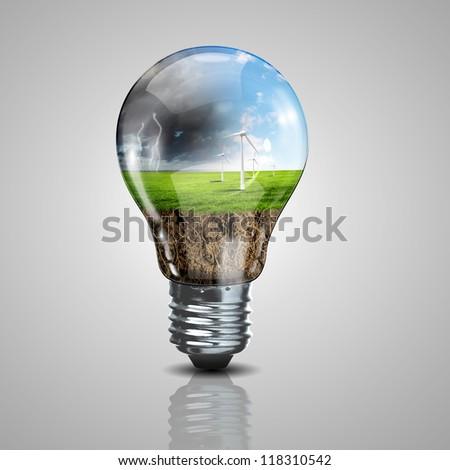 Green energy symbols, ecology concept, light bulb - stock photo
