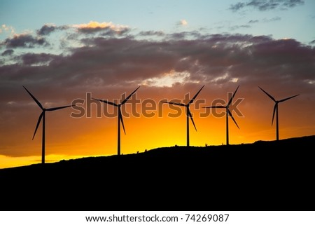 green energy - wind turbines - stock photo