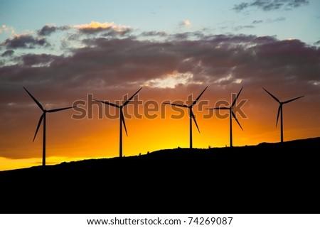 green energy - wind turbines - stock photo