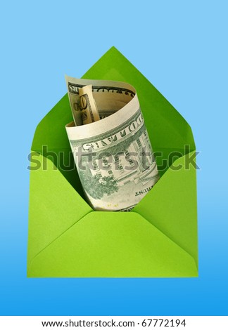 Green envelope with dollars isolated on the blue surface with work paths. - stock photo