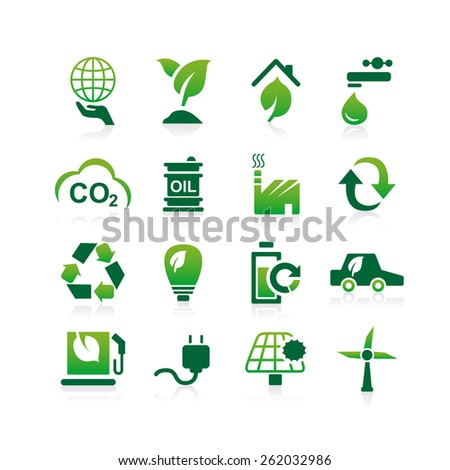 Green environment ECO and recycle concept icon set - Simplicity Series - stock photo