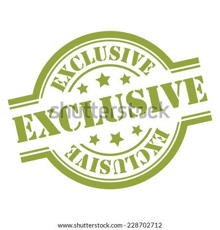 Green Exclusive Stamp, Icon, Sticker, Badge or Label Isolated on White Background  - stock photo