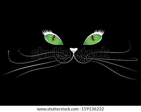Green eyed cartoon cat face on black background. - stock photo