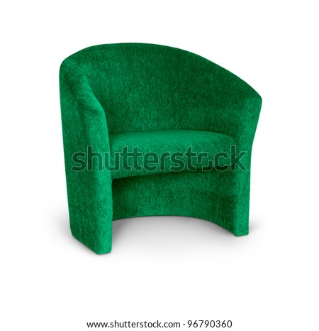 Green fabric armchair on white - stock photo