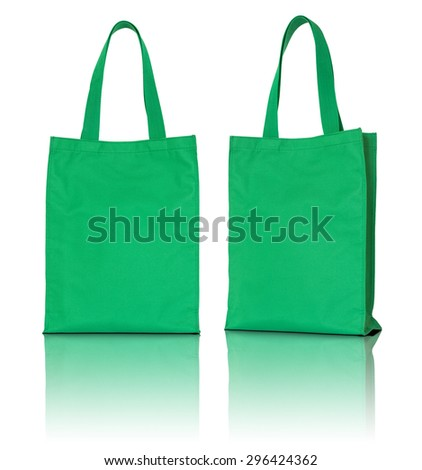 green fabric bag on white background