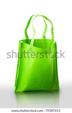 Green fabric bag on white background, Isolated