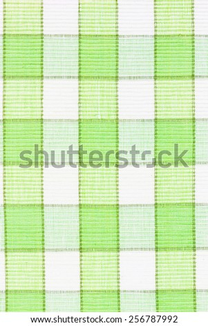 Green fabric texture, stripes table cloth - stock photo