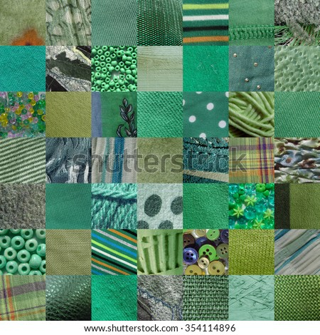GREEN fabrics & other materials patchwork - 49 pictures - stock photo